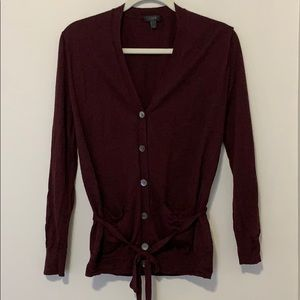 J.Crew Merino Wool Long Burgundy Button Cardigan